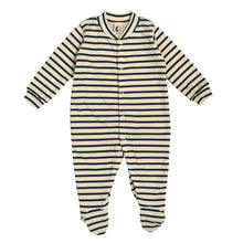 Load image into Gallery viewer, Baby Sleepsuit: Breton - Green Monkeys