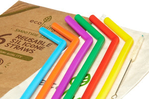 6 Silicone Straws & Plant-Based Cleaning Brush