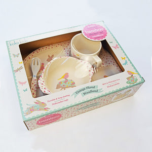 koko kids Vintage Floral Bamboo Dinner Set - Green Monkeys