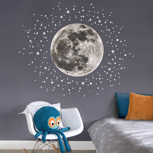 Moon & Stars Kids Wall Stickers (Large) - Two colours available - Green Monkeys