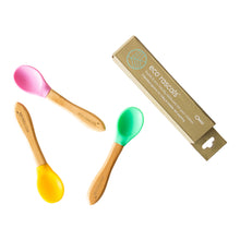 Load image into Gallery viewer, Eco Rascals Bamboo Spoons for Babies and Toddlers - 3 pack (yellow, green, pink)