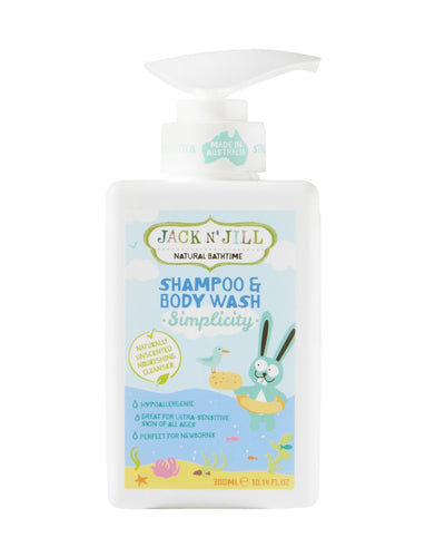 Jack N' Jill Simplicity Shampoo & Body Wash, Natural Bath Time 300ML - Green Monkeys