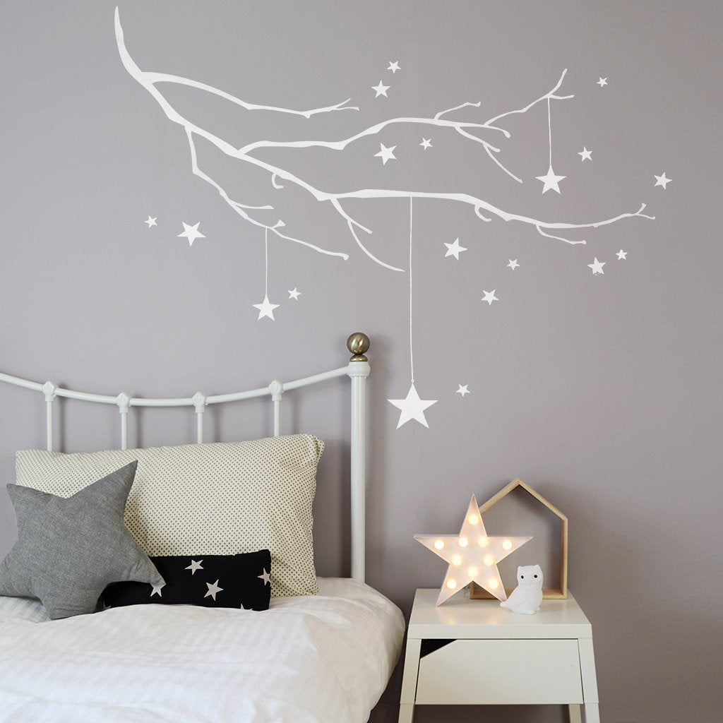 Winter Branch with Stars Wall Sticker - Two colours available - Green Monkeys