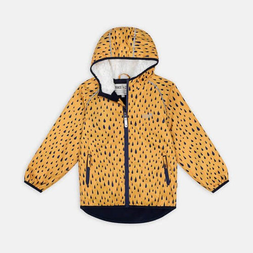 Ecosplash fleece lined jacket - mustard raindrop print