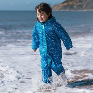 Muddy Puddles Ecosplash Fleece-Lined All-In-One, Raindrop Print - Green Monkeys
