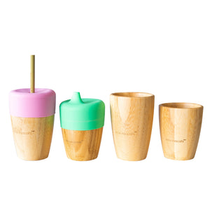 Eco Rascals Bamboo Cup with 2 Straws - Pink