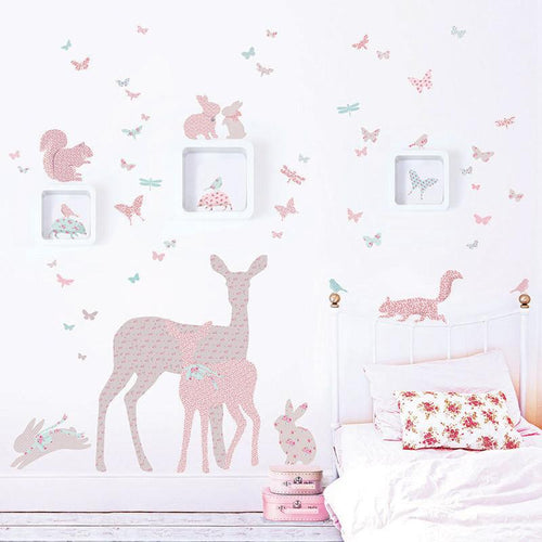 Deer, Fawn and Woodland Animals in Vintage Floral Wall Stickers - Green Monkeys