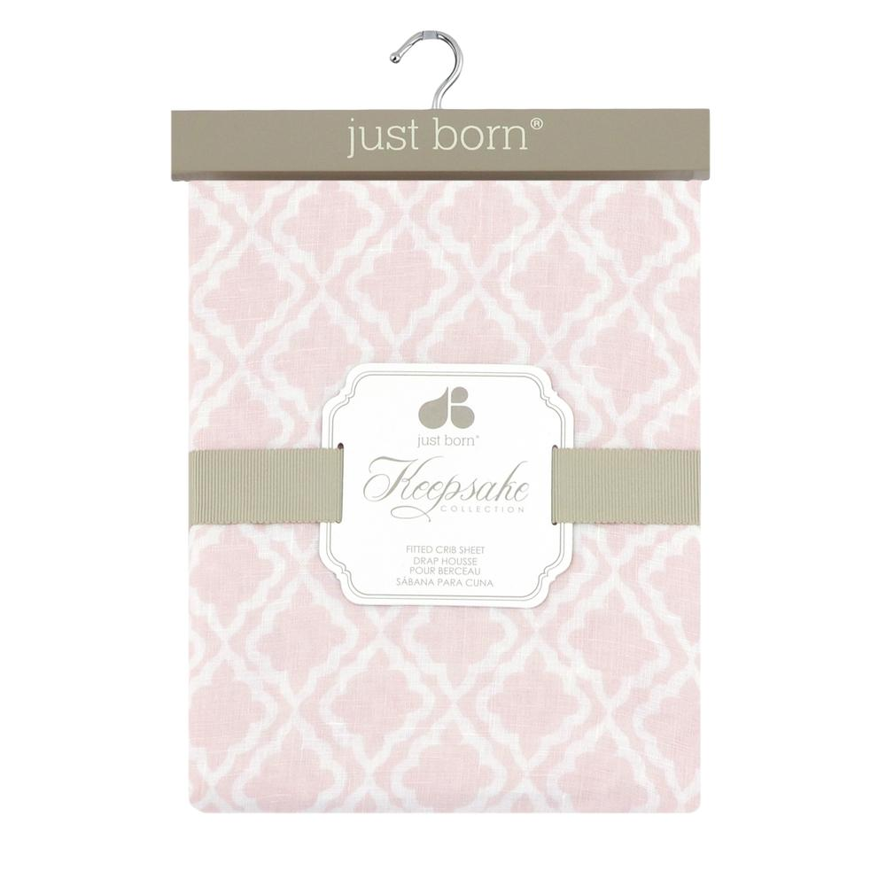 Just Born® Keepsake Pink Diamond Fitted Crib Sheet-Gerber Childrenswear Wholesale