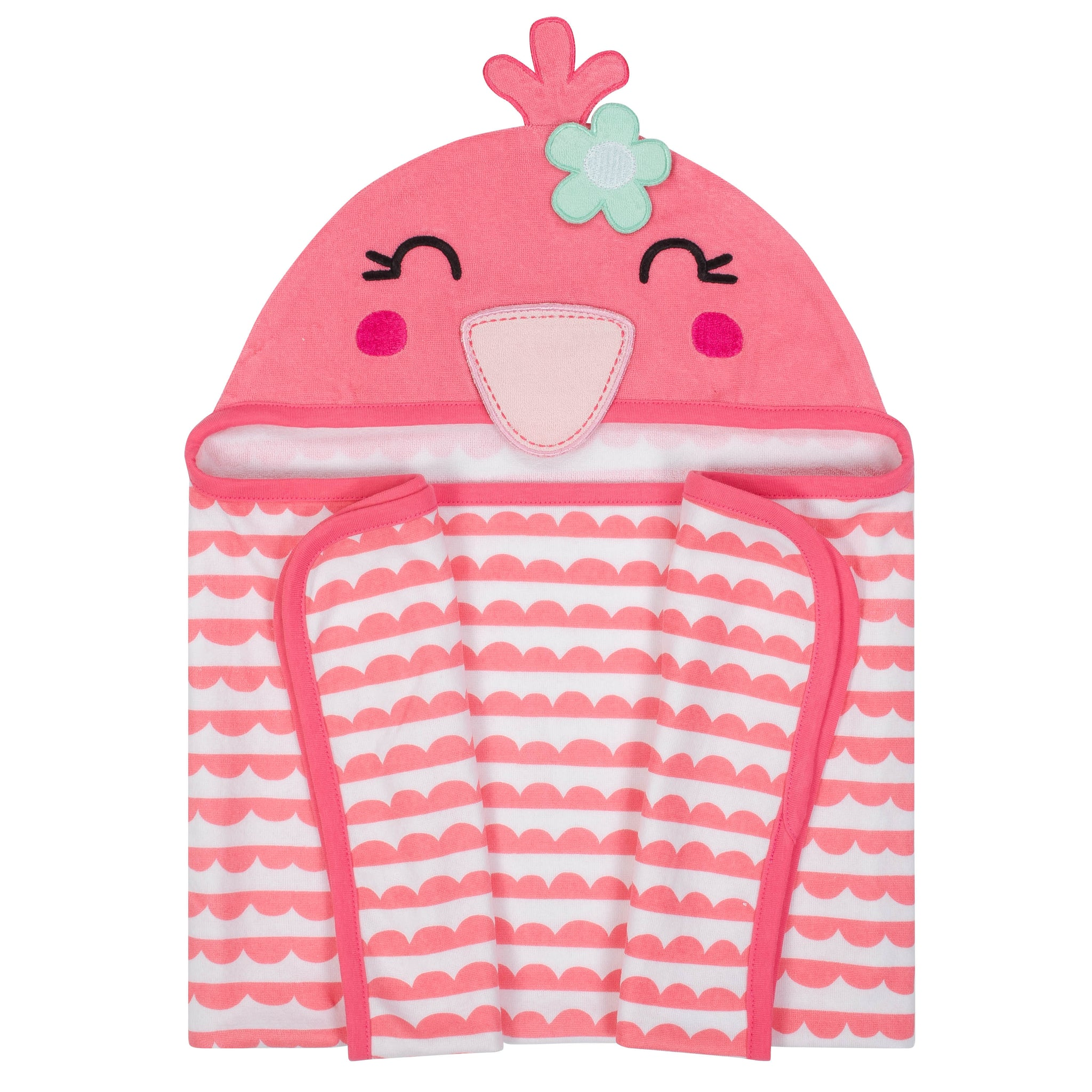 Baby Girls' Flamingo Terry Hooded Bath Wrap-Gerber Childrenswear Wholesale