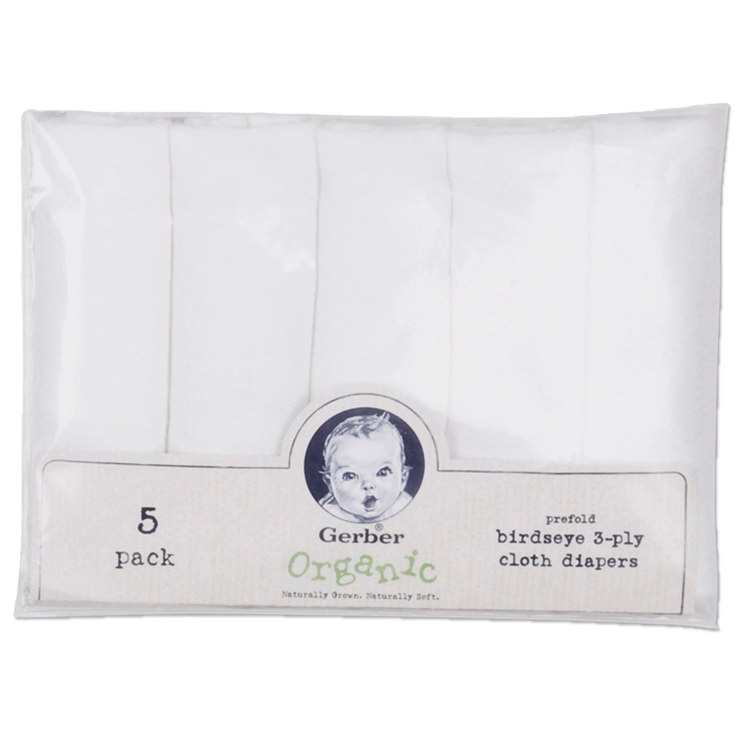 5-Pack White Prefold Birdseye Organic Cloth Diapers-Gerber Childrenswear Wholesale