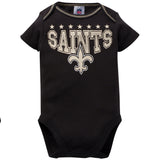 New Orleans Saints 3-Pack Infant Girl Short Sleeve Bodysuits-Gerber Childrenswear Wholesale
