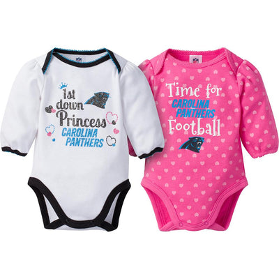 Carolina Panthers 2-Pack Infant Girl Long Sleeve Bodysuits-Gerber Childrenswear Wholesale