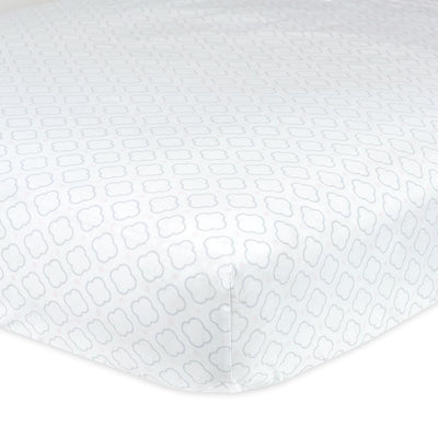 1-Pack Neutral White & Grey Geo Print Fitted Crib Sheet-Gerber Childrenswear Wholesale