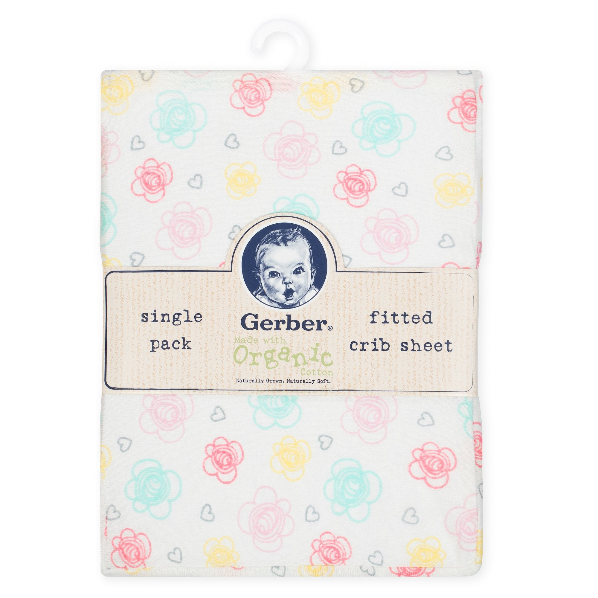 1-Pack Girls Floral Organic Fitted Crib Sheet-Gerber Childrenswear Wholesale