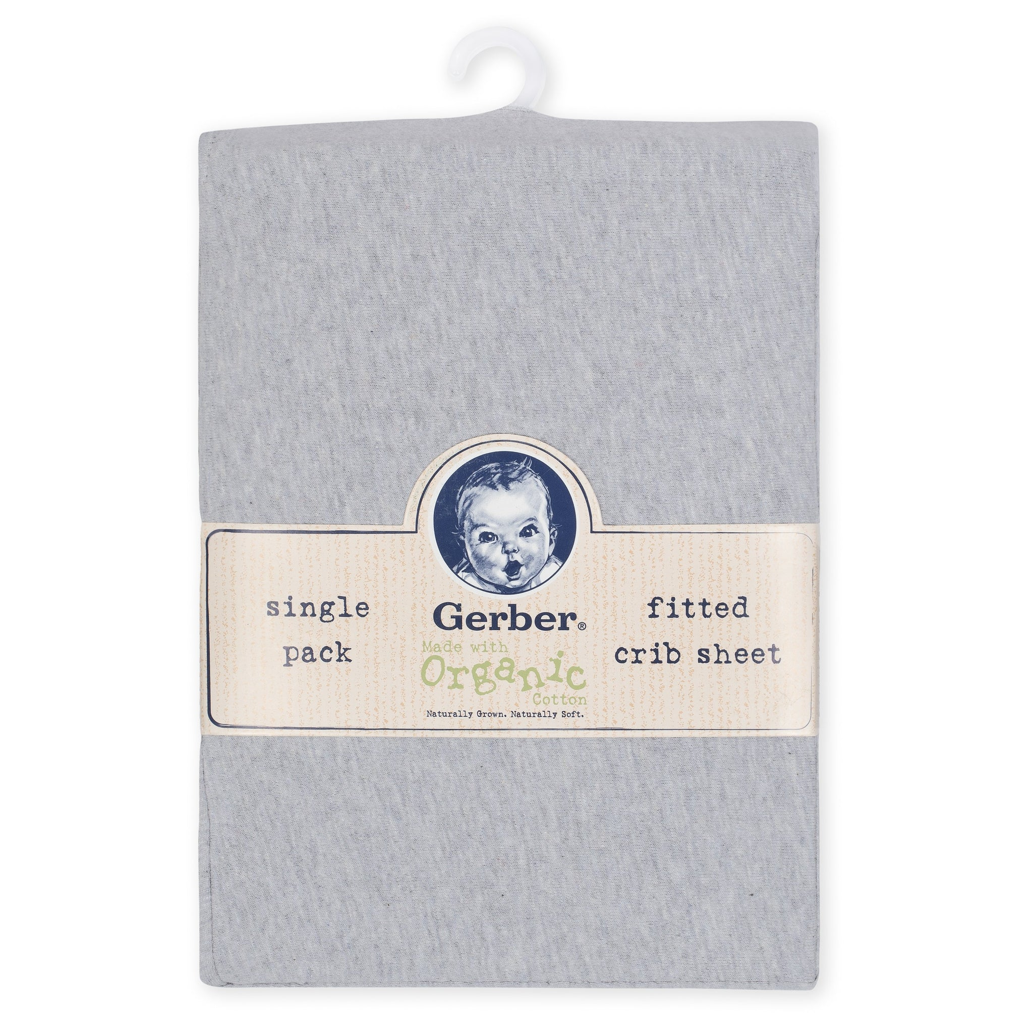 1-Pack Neutral Solid Grey Organic Fitted Crib Sheet-Gerber Childrenswear Wholesale