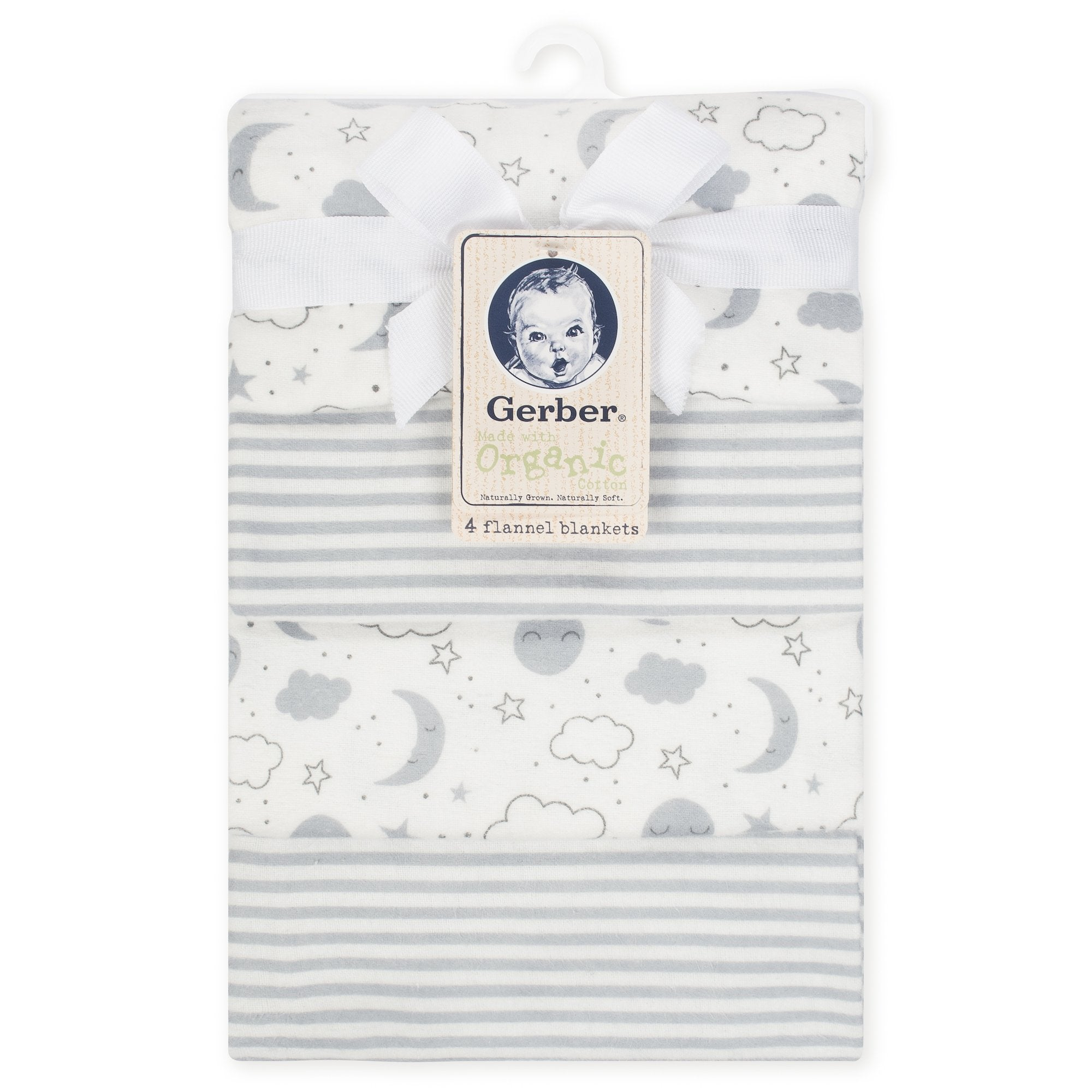 4-Pack Neutral Clouds Organic Flannel Blankets-Gerber Childrenswear Wholesale