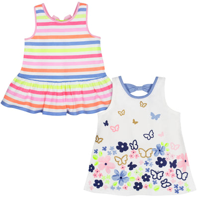 2-Pack Baby and Toddler Girls Multi Stripe Top-Gerber Childrenswear Wholesale
