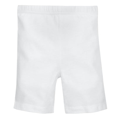 1-Pack Girls White Biker Shorts-Gerber Childrenswear Wholesale
