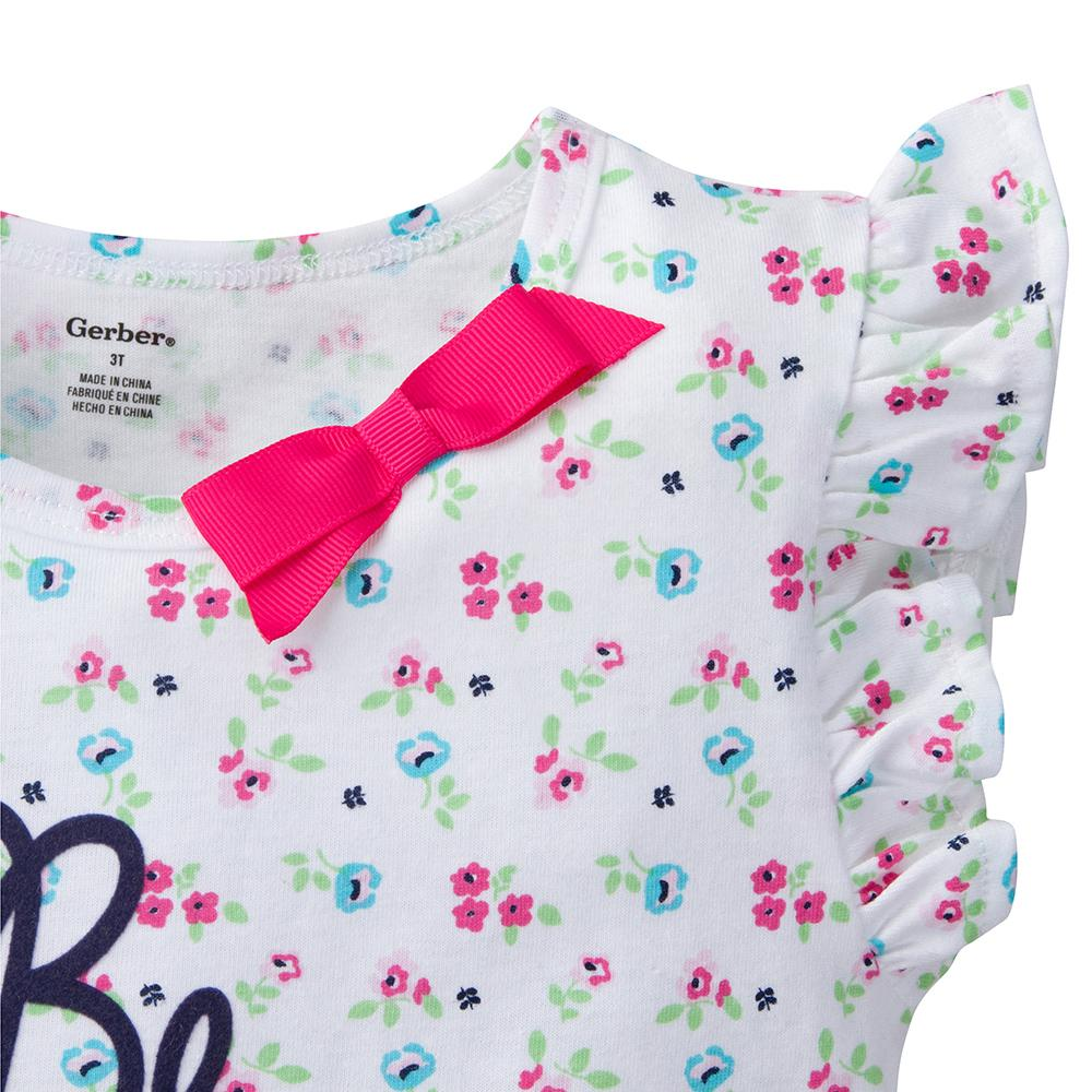 2-Pack Infant & Toddler Girls Floral & Gingham Fashion Tops-Gerber Childrenswear Wholesale