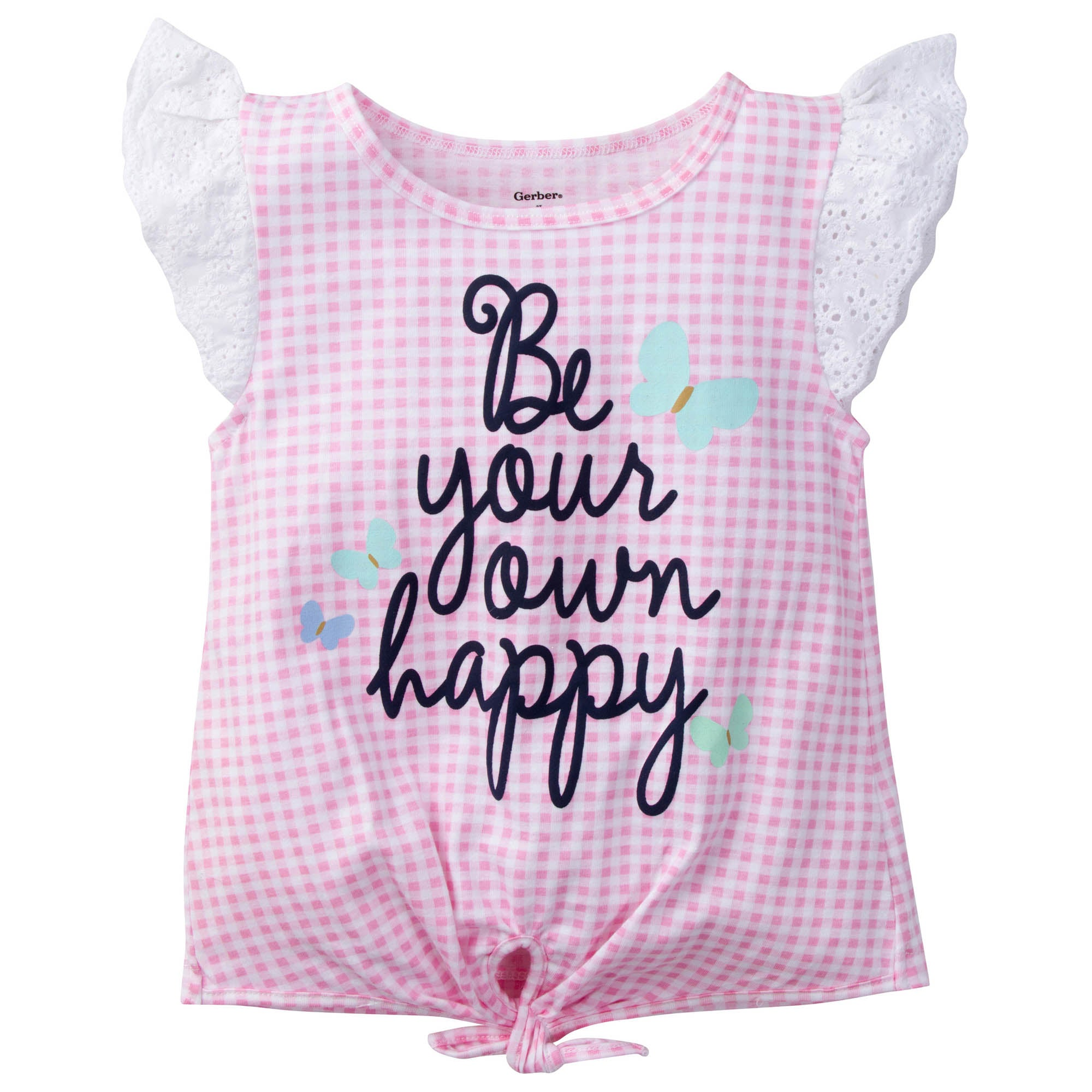 "Girls ""Be Your Own Happy"" Short Sleeve Top-Gerber Childrenswear Wholesale"