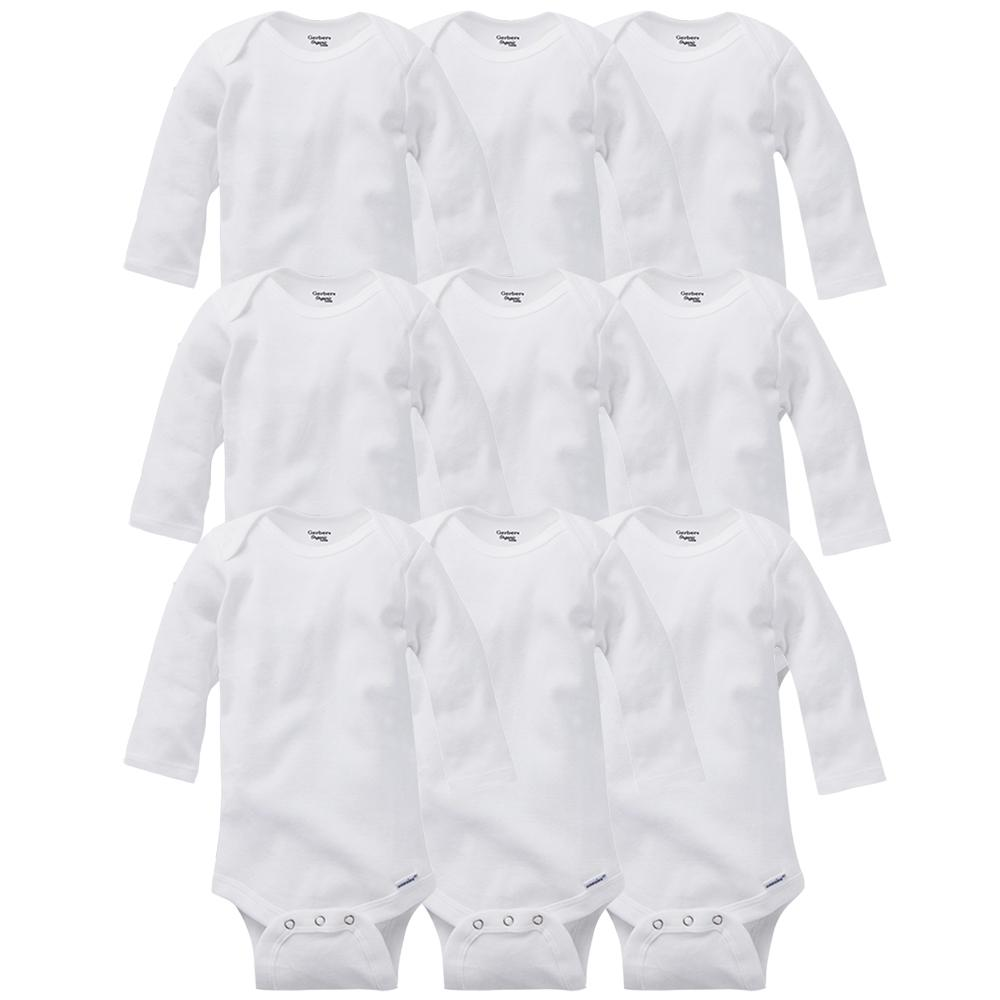 9-Piece White Organic Onesies® Brand Long Sleeve Bodysuits Grow With Me Set-Gerber Childrenswear Wholesale