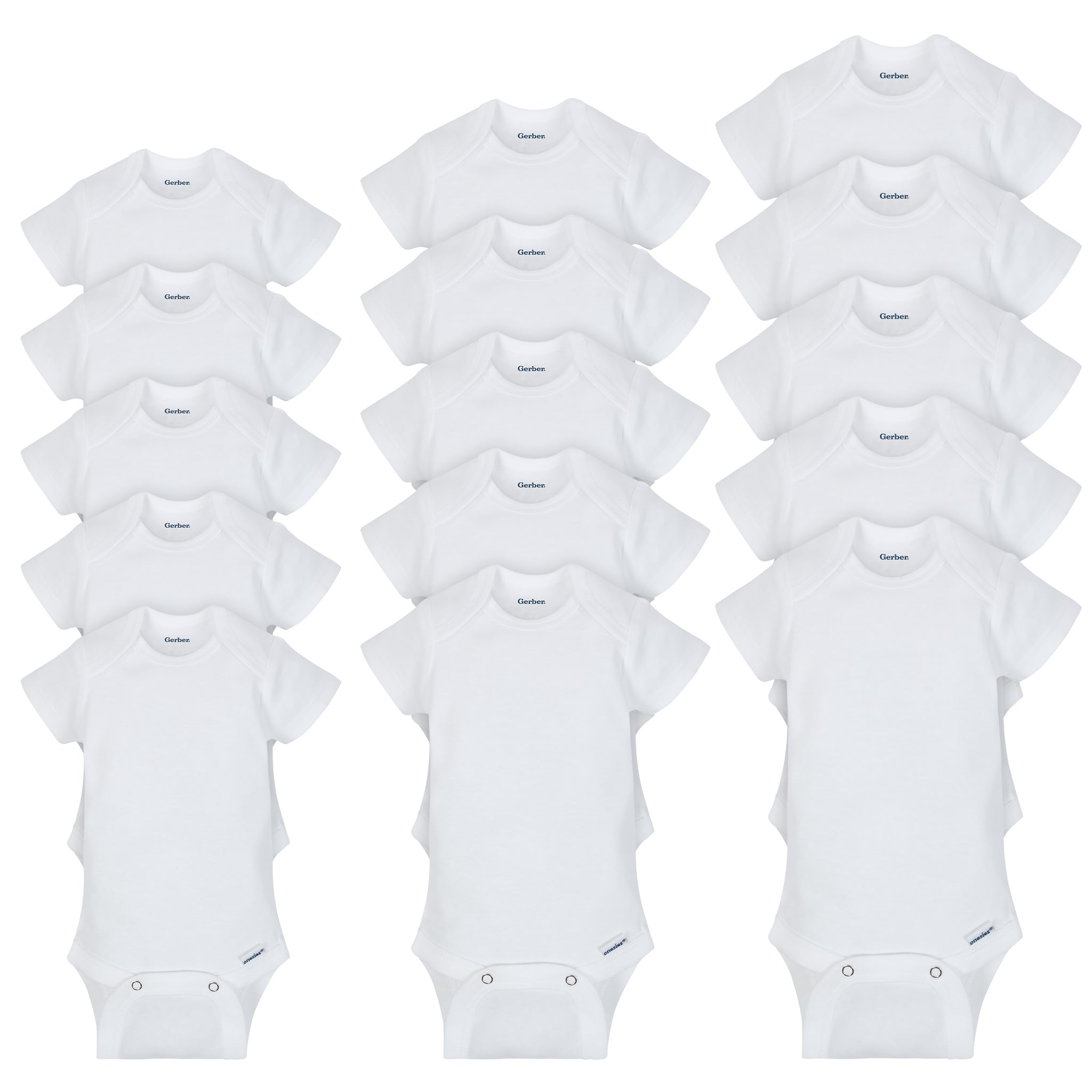 15-Pack Grow-With-Me White Onesies® Brand Short Sleeve Bodysuit Set-Gerber Childrenswear Wholesale