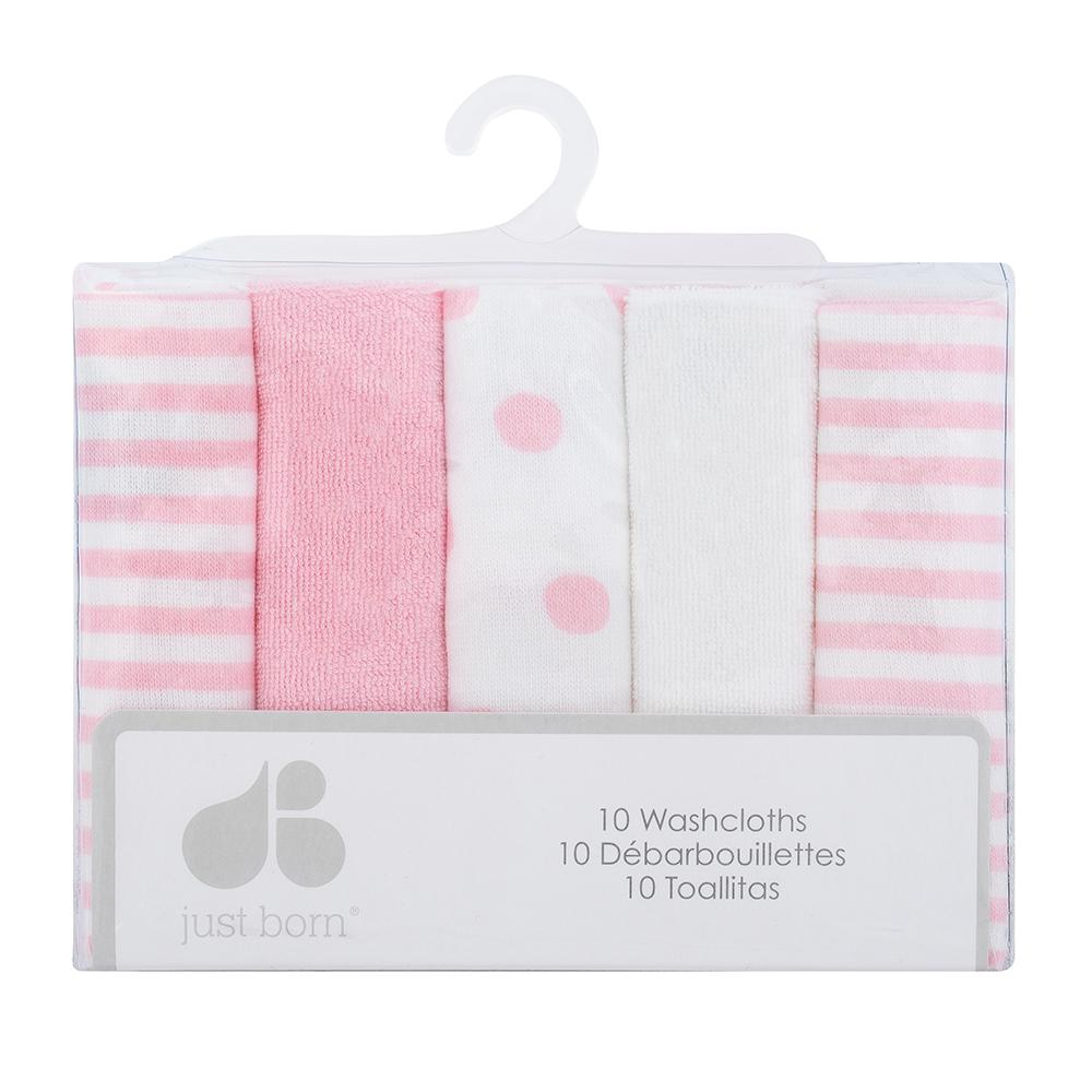 Just Born Baby Girl 10-pack Terry Washcloths-Gerber Childrenswear Wholesale