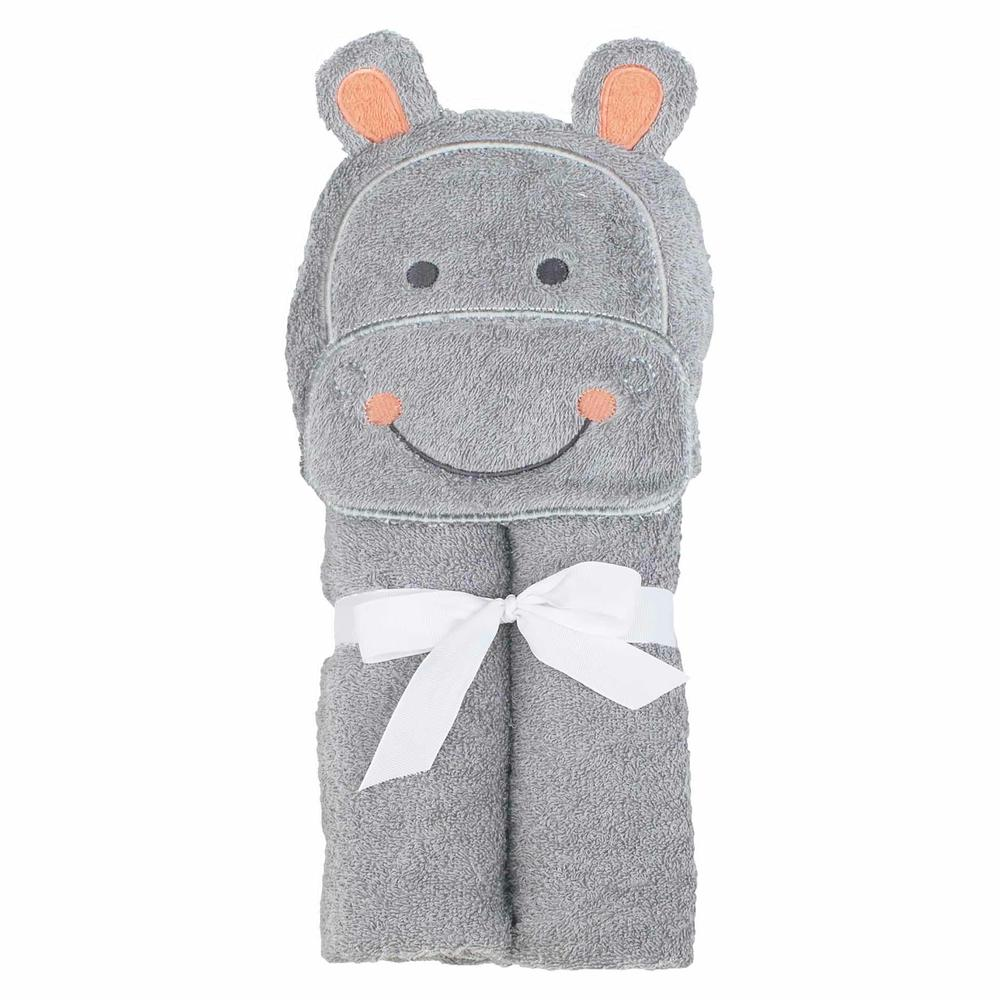 Just Born® Love to Bathe Woven Hippo Hooded Towel in Grey-Gerber Childrenswear Wholesale