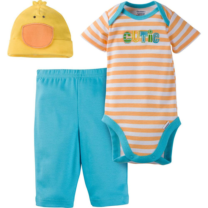 3-Piece Neutral Duck Bodysuit & Pant Set-Gerber Childrenswear Wholesale