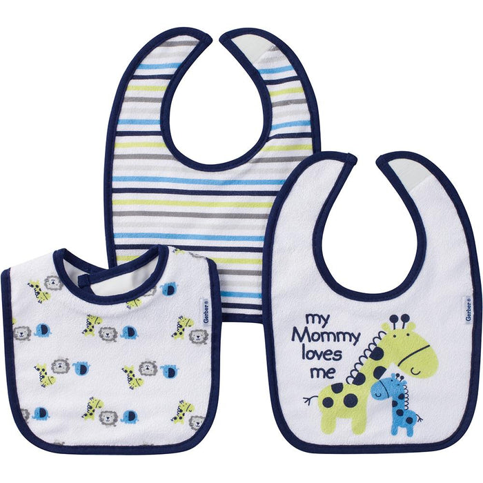 3-Pack Boys Jungle Terry Dribbler Bibs-Gerber Childrenswear Wholesale