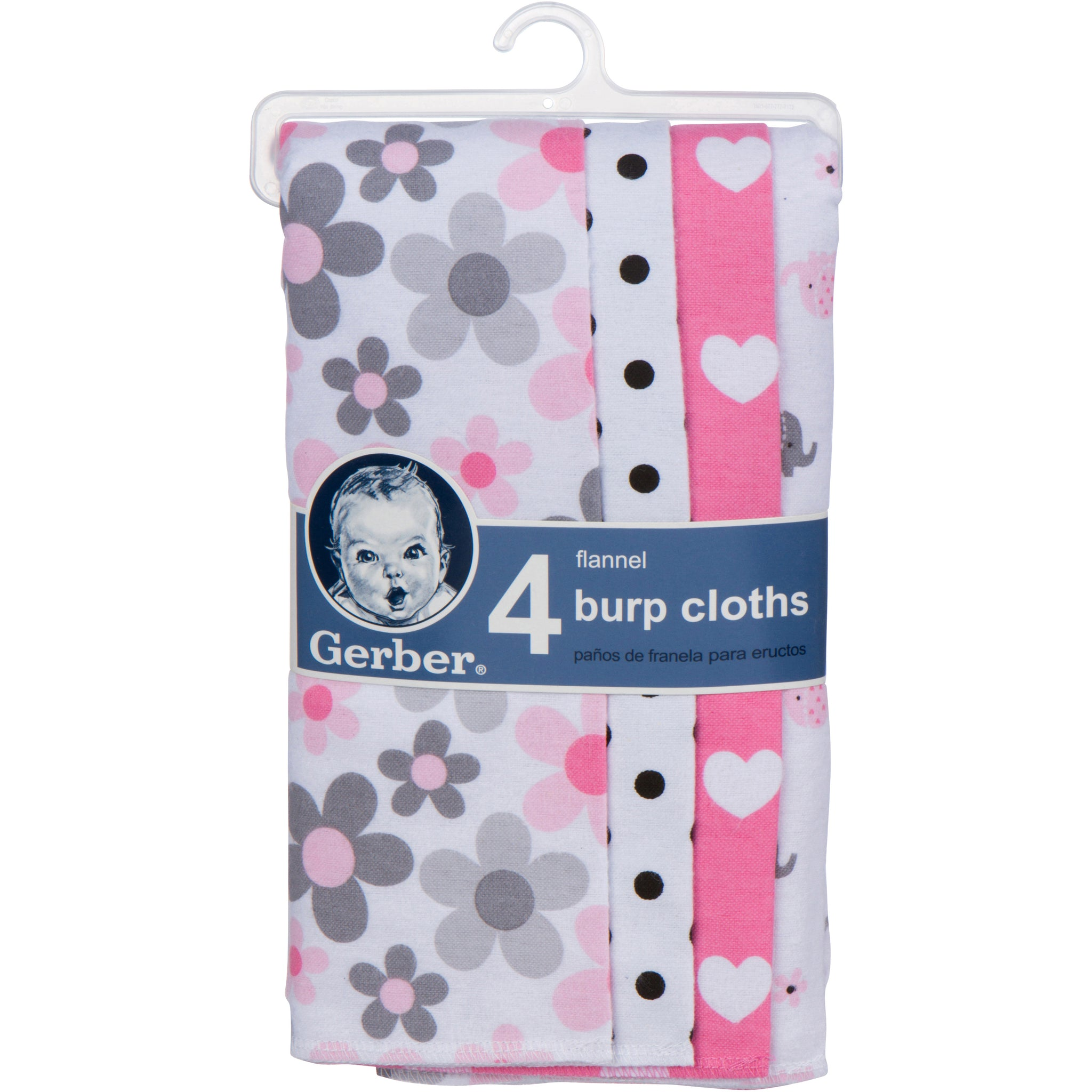 4-Pack Girls Elephant Flannel Burpcloths-Gerber Childrenswear Wholesale