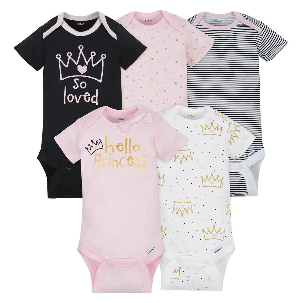 5-Pack Girls Princess Onesies® Brand Short Sleeve Bodysuits-Gerber Childrenswear Wholesale