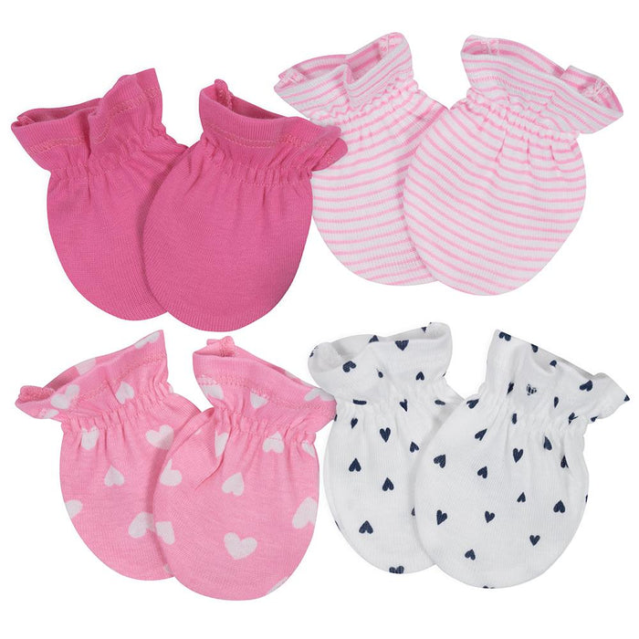 4-Pack Girls Pink & Navy Heart Themed Mittens-Gerber Childrenswear Wholesale