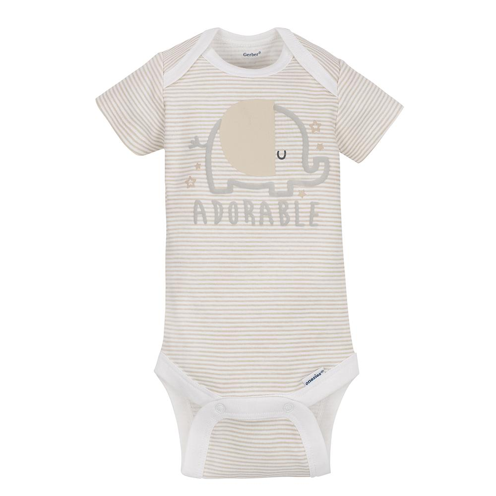 5-pack Neutral Grey Elephant Onesies® Brand Short Sleeve Bodysuits-Gerber Childrenswear Wholesale