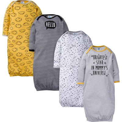 4-Pack Boys Stars Gowns-Gerber Childrenswear Wholesale