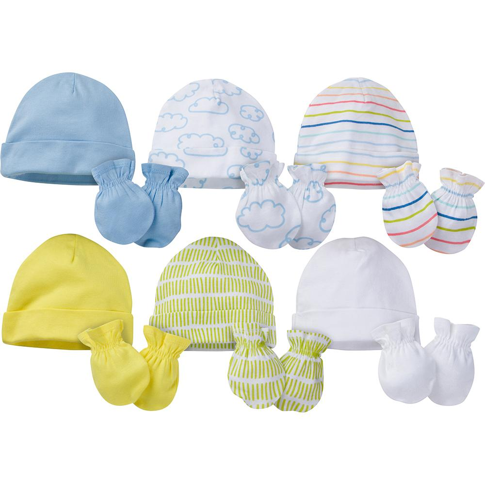 12-Piece Onesies® Brand Baby Boy or Girl Unisex Cap and Mitten Set-Gerber Childrenswear Wholesale