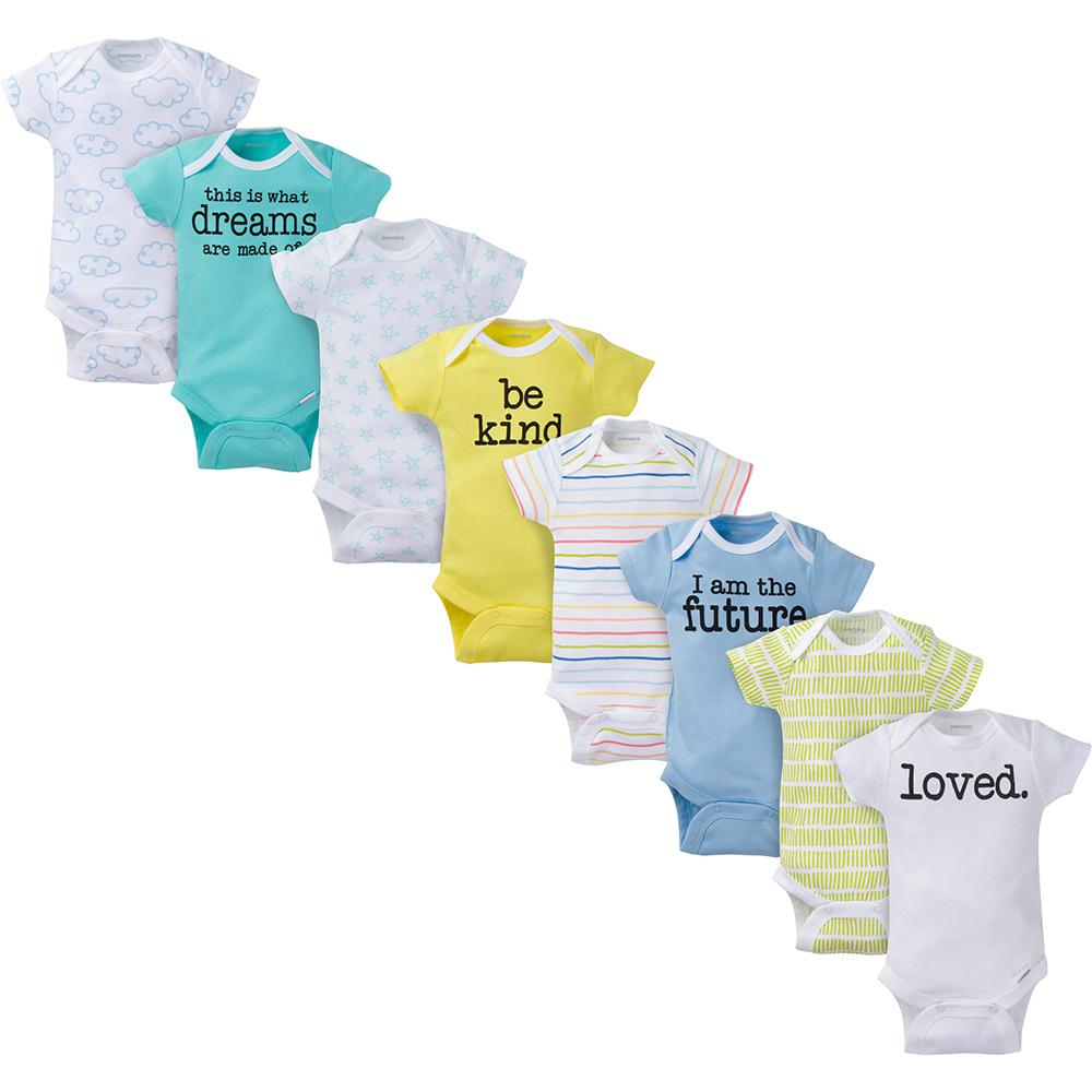 8-Pack Onesies® Brand Baby Boy or Girl Unisex Short Sleeve Bodysuits-Gerber Childrenswear Wholesale