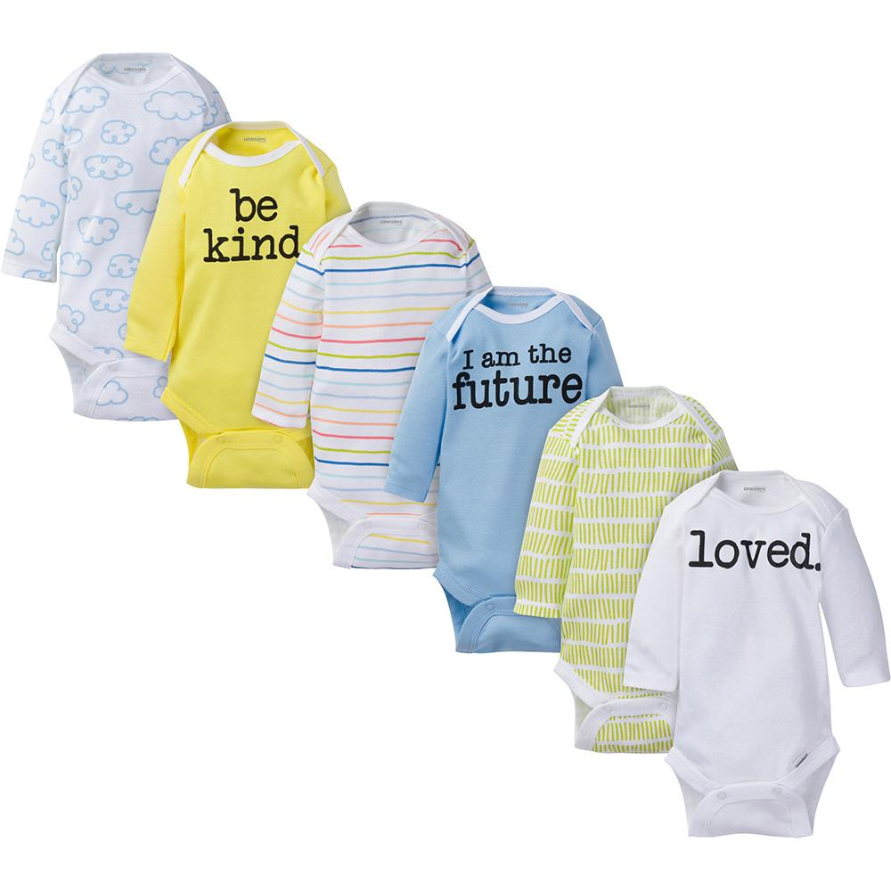 6-Pack Onesies® Brand Baby Boy or Girl Long Sleeve Bodysuits-Gerber Childrenswear Wholesale