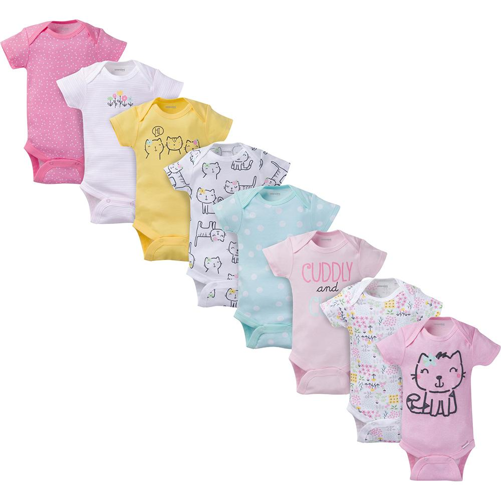 8-Pack Onesies® Brand Baby Girl Kitty Short Sleeve Bodysuits-Gerber Childrenswear Wholesale