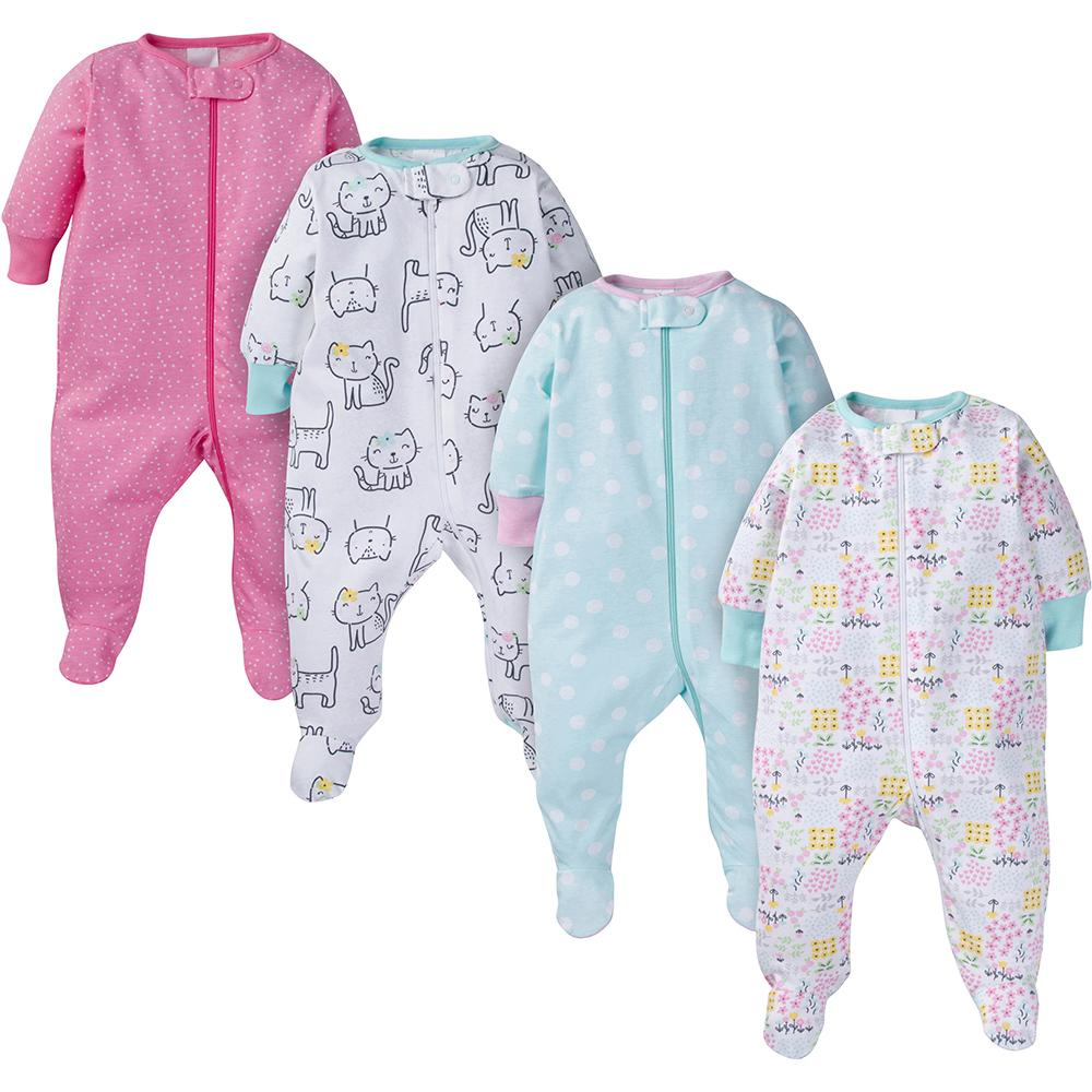 4-Pack Onesies® Brand Baby Girl Kitty Sleep N' Play-Gerber Childrenswear Wholesale