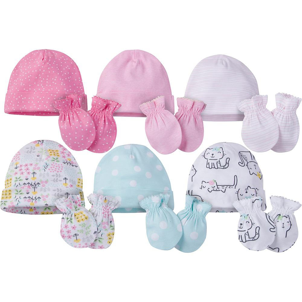 12-Piece Onesies® Brand Baby Girl Cap and Mitten Set-Gerber Childrenswear Wholesale