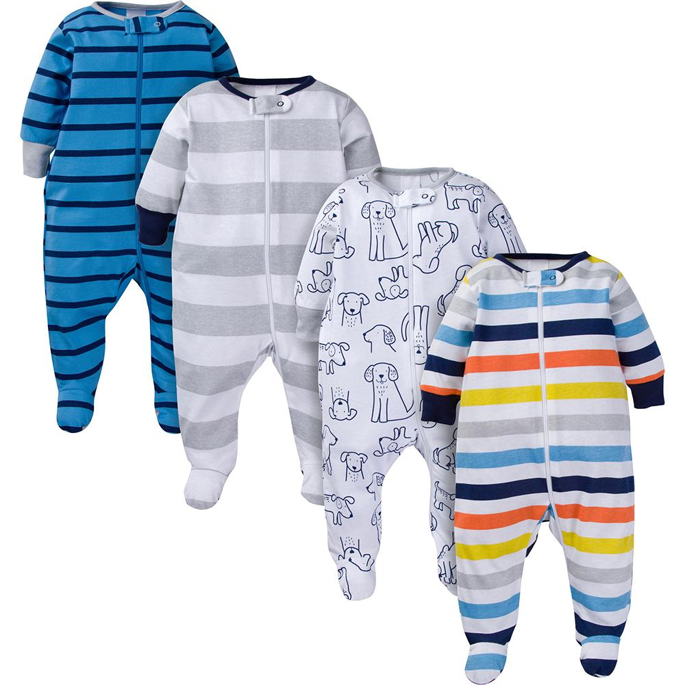 4-Pack Onesies® Brand Baby Boy Navy Puppies Sleep N' Play-Gerber Childrenswear Wholesale