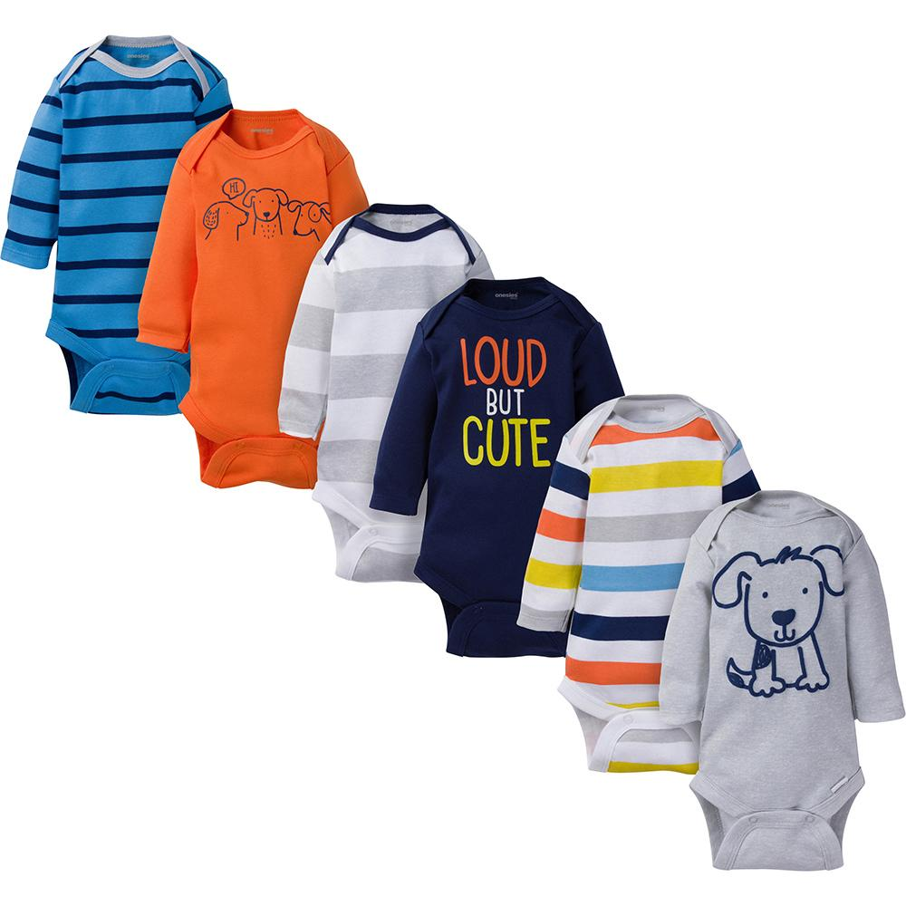 6-Pack Onesies® Brand Baby Boy Navy & Orange Long Sleeve Bodysuits-Gerber Childrenswear Wholesale