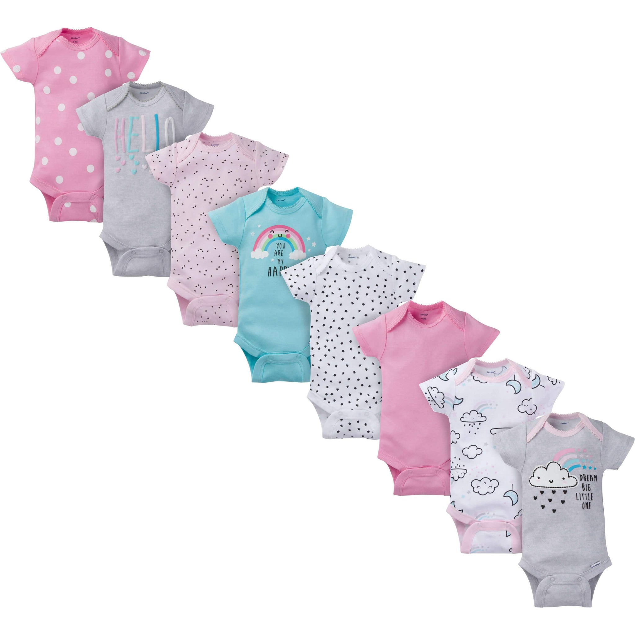 8-Pack Girls Clouds Short-Sleeve Onesies® Bodysuits-Gerber Childrenswear Wholesale