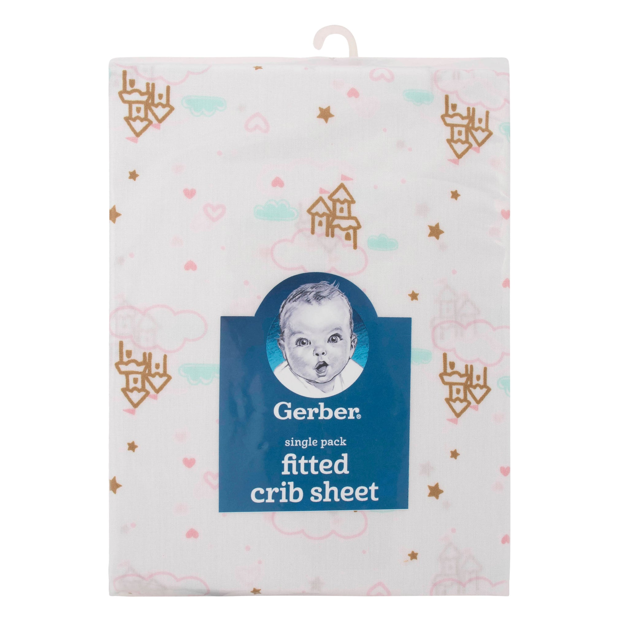 Girls Pink Castle Fitted Crib Sheet-Gerber Childrenswear Wholesale