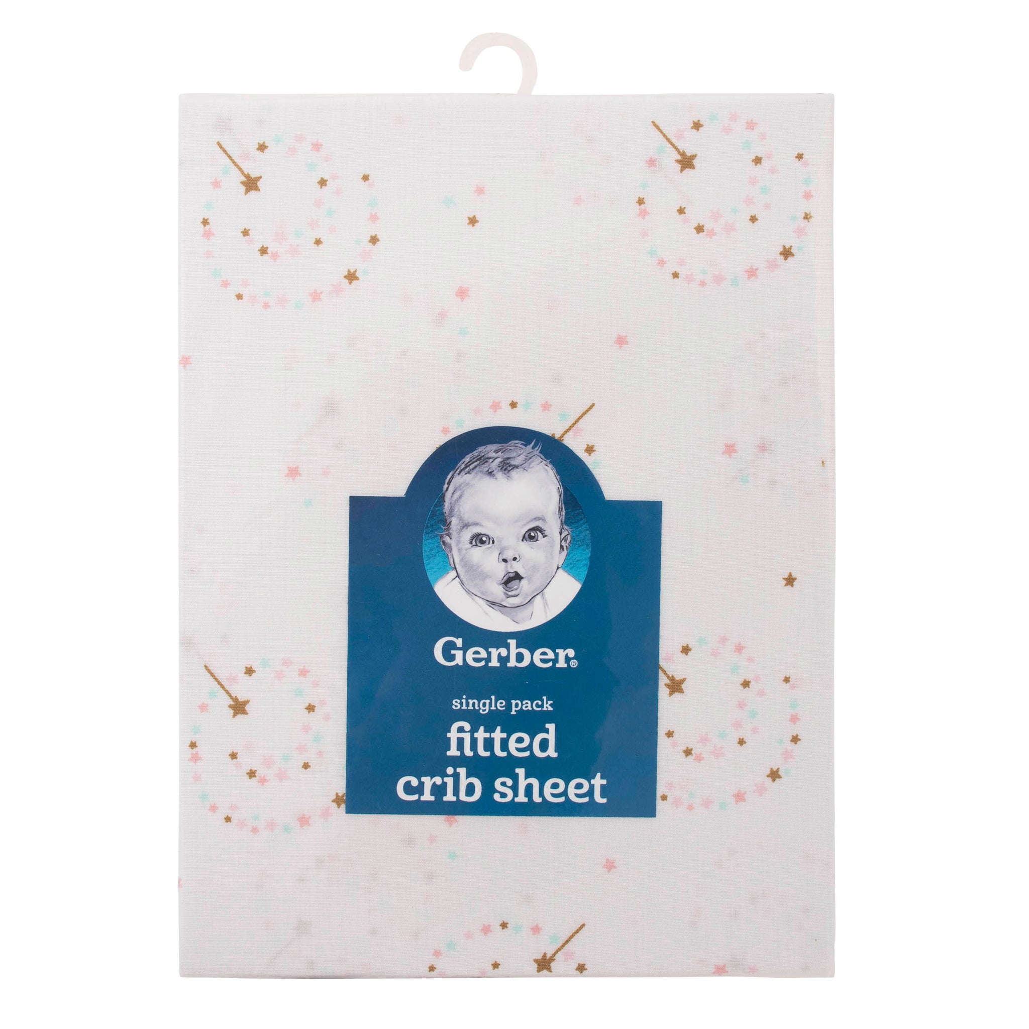 Girls Pink Sparkle Fitted Crib Sheet-Gerber Childrenswear Wholesale