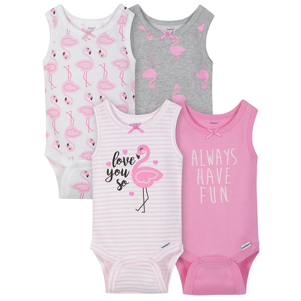 4-Pack Girls Flamingo Sleeveless Onesies® Bodysuits-Gerber Childrenswear Wholesale