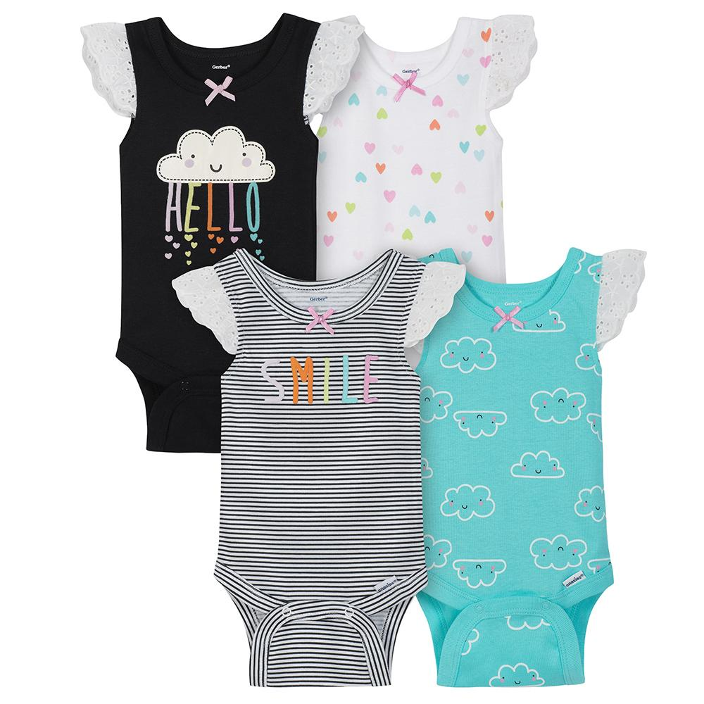 4-Pack Girls Clouds Sleeveless Onesies® Bodysuits-Gerber Childrenswear Wholesale