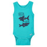 4-pack Boys Sharks Sleeveless Onesies® Bodysuits-Gerber Childrenswear Wholesale