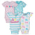 4-Pack Girls Happy Short Sleeve Onesies® Bodysuits-Gerber Childrenswear Wholesale